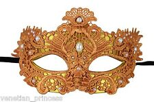 Sexy Italian Amber Lace Venetian Masquerade Mask w/ Pearls LM002E BRAND NEW