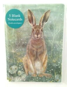 Mini Notecards - Enchanted Hare - 105 x 75mm - Pack of 5 with white envelopes