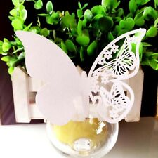 50pcs Set Wedding Butterfly Name Place Card For Wine Glass Cup Laser Cut On Card