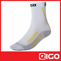 COMPRESSION CYCLE SOCKS WHITE -TRIATHLON CYCLING MTB SPIN RACE 1 PAIR