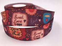 DIY 5 Yard 1'' 25MM LOVE Printed Grosgrain Ribbon Hair Bow Sewing Crafts Ribbon