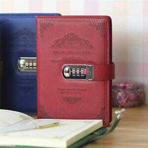 Vintage Tagebuch Notizbuch mit Code Schloss Reisetagebuch Geschenk 200Seite