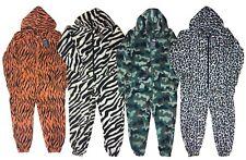 Kids Girls Boys Animal Print 1Onesie1 All In One Jumpsuit Hooded Zip PJ 6-13 Yrs