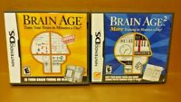 Brain Age 1 + 2  - Nintendo DS Lite 3DS 2DS 2 Game Lot Train Your Brain Games !