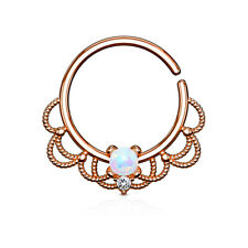 Opal Centre Filigree Bendable Hoop / Ring for Nose Septum Daith or Ear Cartilage