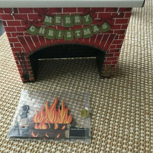 """American Girl Julie's retro cardboard Christmas fireplace for 18"""" dolls NEW"""