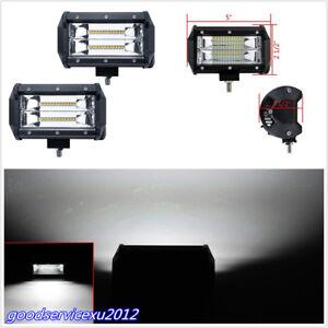 2 X 5Inch 72W Aluminium 24LED 6000K Car Working Lights Strip Flood Driving Lamps