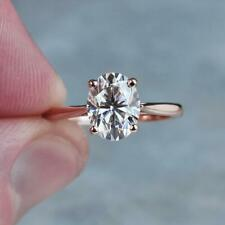 2Ct Oval Cut Diamond Solitaire Wedding Engagement Ring 14K Rose Gold Finish
