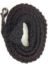 DOG LEASH 528  JET BLACK crochet 6 1/2 foot with black swivel bolt snap