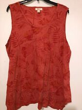 Women's Blouse Style & Co Orange Palm Leaves Sleeveless Round Plus Size 2X NWT