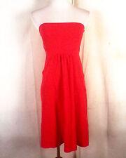 EUC J.Crew sólido Rojo Piqué Algodón Elástico Vestido Sin Tirantes Mini-vestido