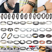 Men Lady Braided Leather Magnetic Bracelet Bangle Wristband Punk Stainless Steel