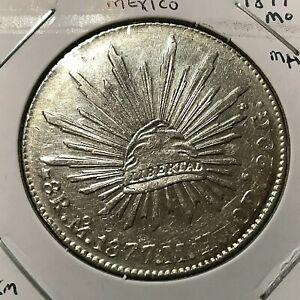 1877 MoMH MEXICO SILVER 8 REALES HIGH GRADE  CROWN