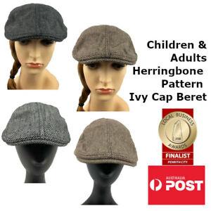 Children & Adult's Unisex Herringbone Pattern Ivy Cap Golf Beret Gatsby Hat
