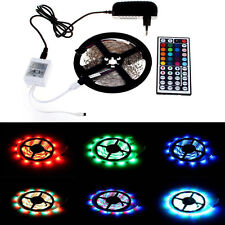 US New 5M 3528 RGB 300 SMD Flexible LED Strip Light 44key Remote Non Water Proof