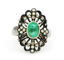 Natural Emerald & Diamond 925 Sterling Silver Floral Shape Birthday Gift Ring