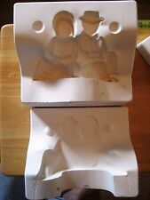 "Sitting Amish Couple 4"" x 6"" Figure Size Provincial Ceramic Mold P-713"