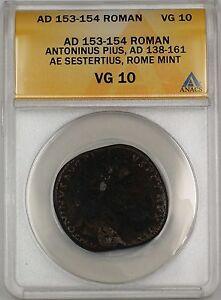 AD 153-54 Roman Rome Mint Antoninus Pius AE Sestertius Ancient Coin ANACS VG-10