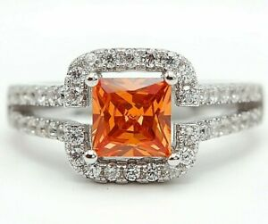 2CT Padparadscha Sapphire & Topaz 925 Sterling Silver Ring Sz 7, M15
