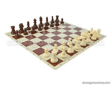 """Dubrovnik Zagreb Chess Set - Chess Board Brown 20"""" + Chess Pieces 3,5"""" Standard"""