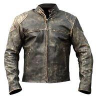 Men's Antique Vintage Distressed Black Retro Motor Biker Real Leather Jacket