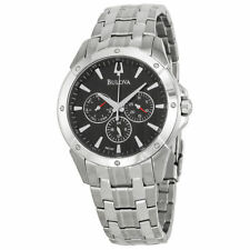 Bulova Mens 96C107 Black Dial Stainless Steel Watch JS