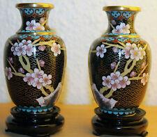 Cloisonne Paar Vase China Japan Vasen carved Messing old chinese floral carving