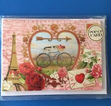 Punch Studio Luxury Paris Floral Bicycle Valentines Day Pop Up Card -New