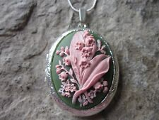 LILY OF THE VALLEY CAMEO SILVER PLATED LOCKET - QUALITY - PINK ON GREEN