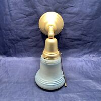 Single Rewired Yellow Brass Sconce With Art Deco Shade Nice 117A