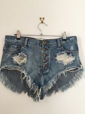 One by One Teaspoon Rollers Low Waist Long Rise Distressed Denim Shorts 27