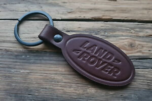 Handmade Embossed Brown Leather Keychain Keyring for Land Rover (Symbol) Key Fob