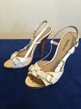 Bebe Women's White/Gold Leather Very High Heel w/buckle Size 7 M