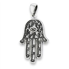 Sterling Silver Hand of Khamsa Fatima Hamsa Pendant Charm 925 Jewelry Khasma