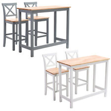 Breakfast Bar Set Dining Table & High Chairs Stool Seat Wooden Kitchen Furniture