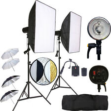 Kit de Flash estroboscópico 2X150W Inalámbrico Softbox luz de estudio DSLR Canon Nikon Sony Trig