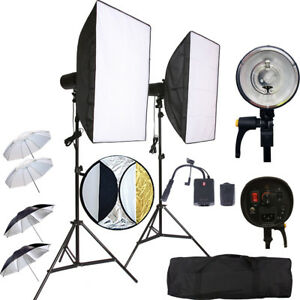Wireless Flash Strobe Umbrella 300W Reflector Studio Pro Lighting Kit For DSLR