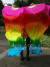 1pair pink-red-yellow-green-turquoise 1.5m*0.9m light belly dance silk fan veil
