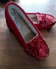 Womans Size 9 Minnetonka  Cally Red Glitter Sparkle Moccasins NWT