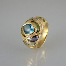 Ring Peridot Topas Turmalin Iolith Amethyst Diamant 585/14k Gelbgold - Gr. 56