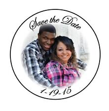 """(24) Save the Date Photo Stickers/ Wedding Photo Glossy Labels (1.67"""" Round)"""