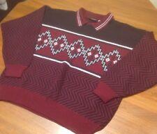 Playboy Sweater Mens XL Acrylic Geometric Cosby Vintage Red Black