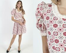 Vtg 70s Pink Floral Dress Ivory Seersucker Lace Doily Print Boho Prairie Mini