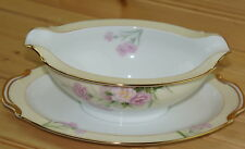 "Noritake Pink Carnation Mystery #1 Gravy Boat w/ attached Underplate, 9½"" x 6½"""