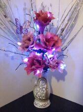 Artificial Silk Flower Arrangement Rose Pink Flowers in White Glitter Vase