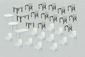 FALLER HO SCALE 1:87 24 GARDEN CHAIRS AND 6 TABLES | BN | 180439