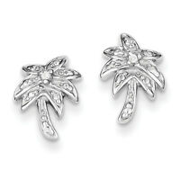 925 Sterling Silver Polished CZ Palm Tree Post Earrings