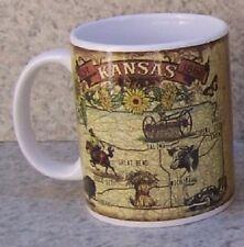 Coffee Mug Explore America Kansas Map & Landmarks NEW 11 ounce cup with gift box