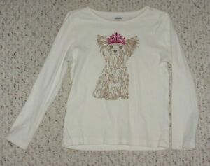 Ivory Gymboree L/S Top w/ Gold Glittery Yorkie, Falling for Feathers, 6, VGUC