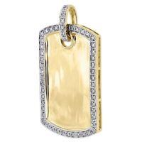 Diamond Dog Tag Pendant Mens 10K Yellow Gold Round Pave ID Charm 0.18 Tcw.
